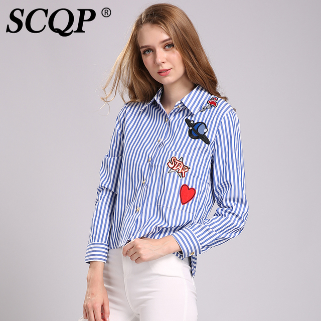 SCQP Striped Embroidery Womens Top Patch Formal Elegant Ladies Tops And Blouses 2016 New Fashion Autumn Blue Cotton Shirt Women