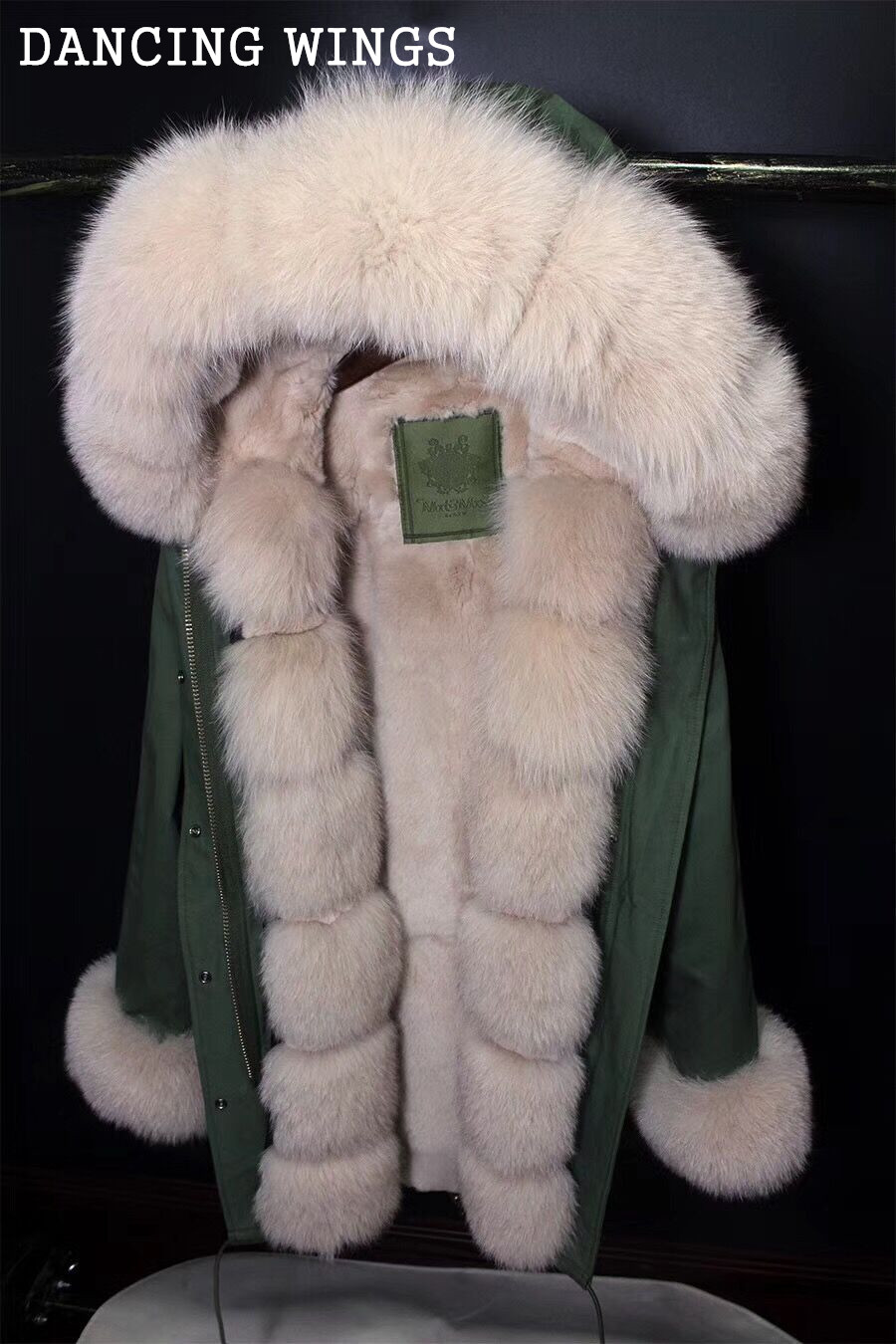Luxury Rabbit Fur Liner Army Green Parka With Real Fox Fur Collar Thick Warm Winter Coats Long Hooded Jacket 2015 hot thicken warm woman down jacket hooded fox fur collar luxury coats outerwear parka slim brand mid long