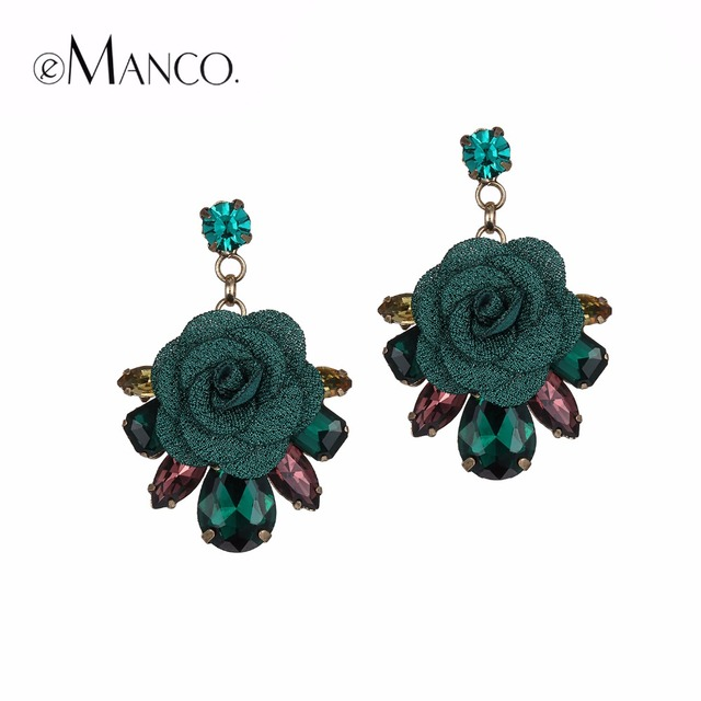 eManco Romantic Drop Dangle Hanging Earrings for Women Trendy Plants Flower Green Crystal Earring Fashion Brand Jewelry