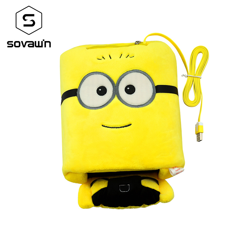 Sovawin Coral Velvet Winter USB Heated Mouse Pad Hand Warm Warmer Minions Plush Cover Mousepad Heat Source Mat for Officer Home