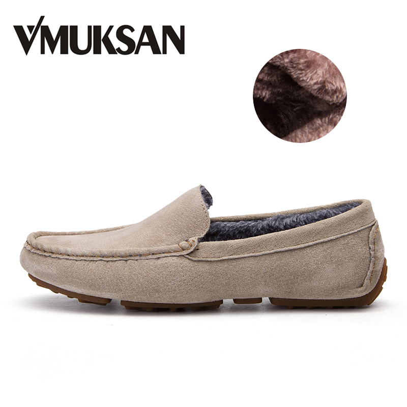 VMUKSAN New Casual Shoes Winter Fur Men Loafers 2017 Slip On Fashion Drivers Loafer Pig Suede Leather Moccasins Plush Men Shoes 2017 men s casual crocodile genuine leather boat shoes slip on penny loafers moccasin fashion new trended men s loafer shoes new