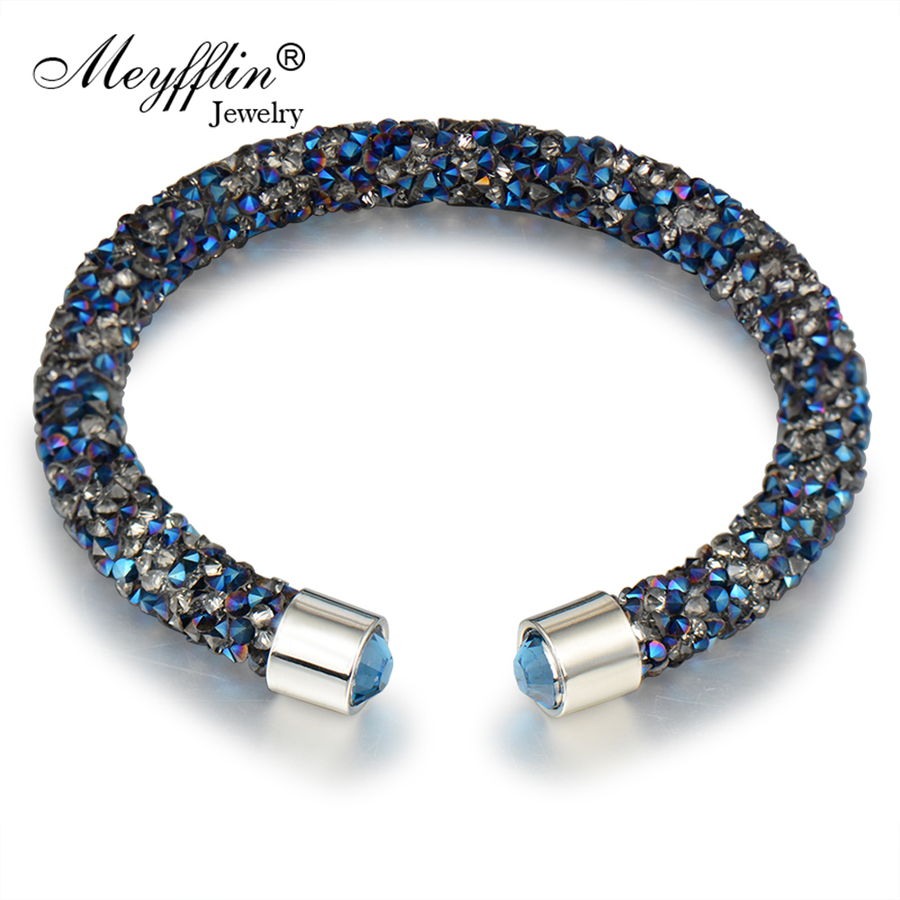 Meyfflin Classic Cuff Bracelet Women Men Jewelry Fashion Crystal Bracelets & Bangles Female Silver Color Pulseiras Bijoux