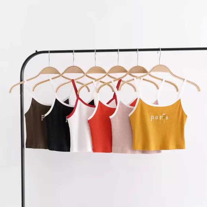 2018 Summer Style Fashion Paris Knitted Halter Top Feminina Crop Tops Solid Sexy Tops Corset Women Camisole Bandage Top