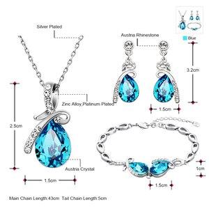 Image 2 - Neoglory avusturya kristal mavi takı seti düğün gelin Charm doğum günü hediyeleri için kız arkadaşı kadınlar 2020 yeni JS11