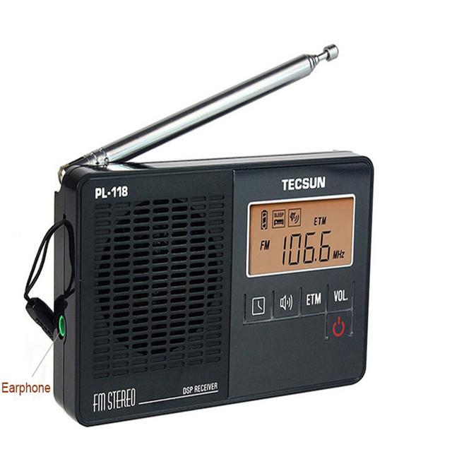 Alta Calidad TECSUN PL-118 FM Mini Radio Estéreo Portátil Soporte de Radio Reloj Despertador Radio DSP