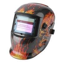 Güneş Enerjisi Otomatik Kararan Ayarlanabilir Gölge Aralığı TIG MIG MMA Elektrik Kaynak Maskesi Kask Lehim Kap Flaming Skull Tasarım