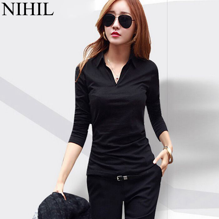 Plus Size Women Blouses Shirts 2015 Spring Fashion Body Blusas Femininas Turn-Down Collar Long Sleeve Casual Blouse Work Wear