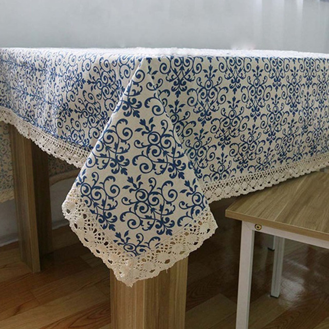 US Vintage Tablecloth Navy Blue Lace Table Cloth Cotton Linen Fabric Decorative Table Cover In Tablecloths From Home Garden On