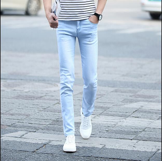 2017 Pantalones Vaqueros de Los Hombres de Algodón pies pantalones de Mezclilla Pantalones de Fitness Moda Solid Jeans Para Hombres, tamaño Euro 28 ''34''