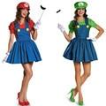 Vocole super mario luigi hermano cosplay halloween party fancy dress disfraces carnaval traje plumber adultos mujeres