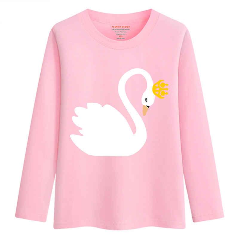 มาถึงใหม่เด็กทารกเสื้อกันหนาวฤดูใบไม้ผลิฤดูใบไม้ร่วงวัยรุ่น 2019 วัยรุ่นเสื้อกันหนาวเสื้อผ้าเด็กผู้หญิงผ้าฝ้ายSwanเสื้อยืดแขนยาวTees Tops
