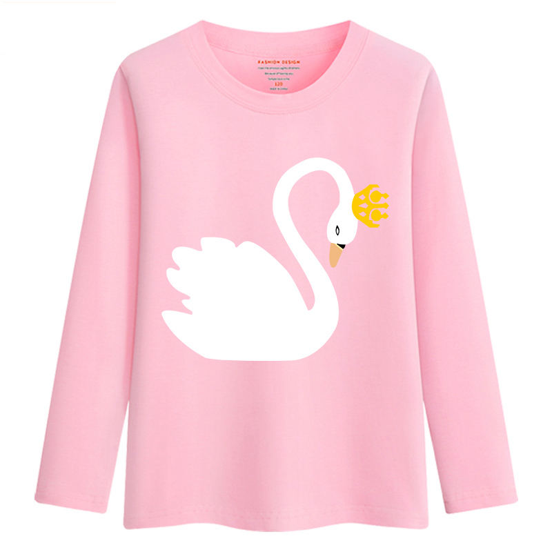 Image 3 - New Arrival Baby Girls Sweatshirt Spring Autumn 2019 Teenage Sweater Kids Clothes Girl Cotton Swan T shirt Long Sleeve Tees TopsTees   -