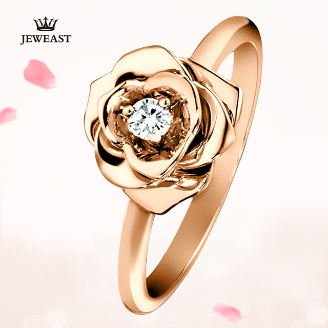 Natural Diamond 18K Gold Pure Gold Ring Real 18K Solid Gold Rings Upscale Trendy Classic Party Fine Jewelry Hot Sell New 2020