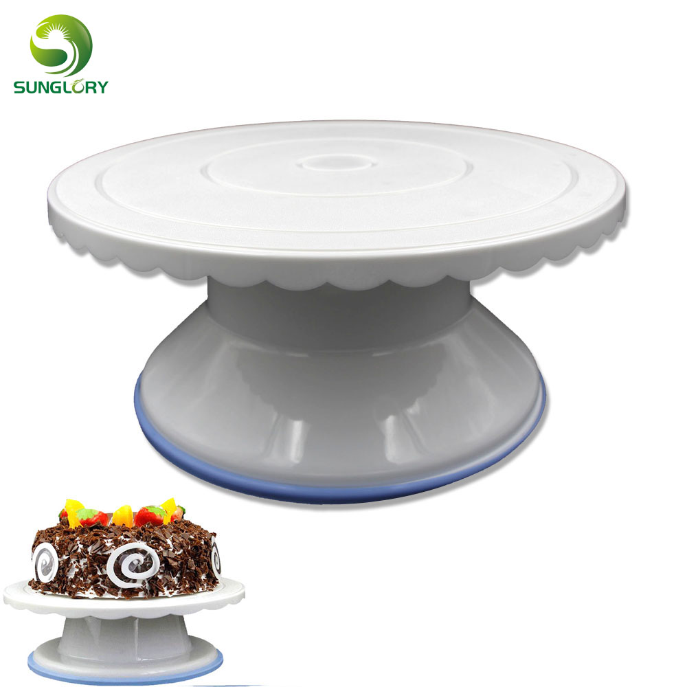 Fondant Decor Sugar Craft Non slip 28CM Cake Turntable Rotating Revolving Cake Stand DIY Round Cake Platform Baking Tools Mold in Stands from Home Garden