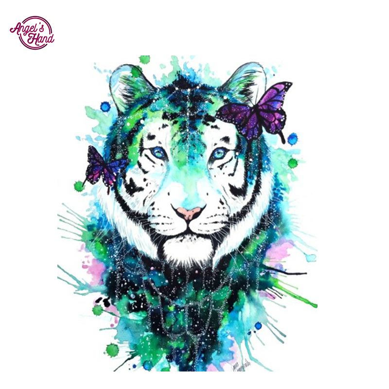 Wallpapers Tribal Animals Animal Tattoo 1024x1024: ANGEL'S HAND Diy Diamond Painting 5d White Tiger Butterfly