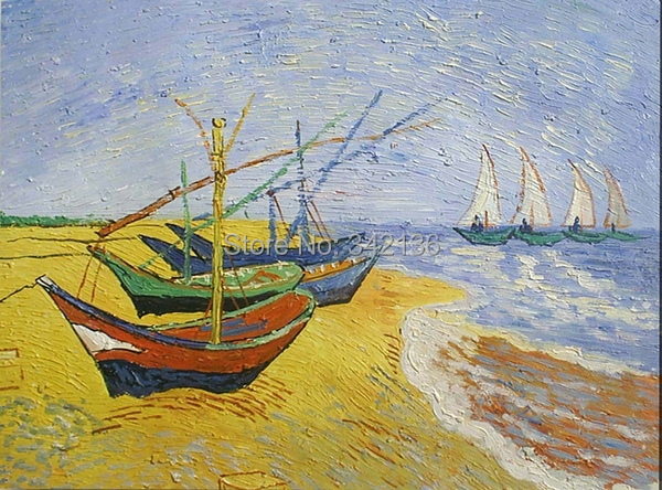 Nice famous oil painting Fishing Boats on the Beach at Saintes ...