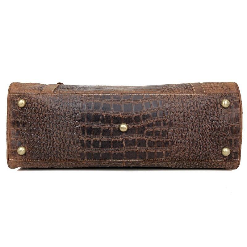 Aus Gepäck Männer Alligator Brown Reise Totes Crazy Vintage Horse Tasche Leder Muster Reisetasche Kuh Taschen Echtem qYHqpr1