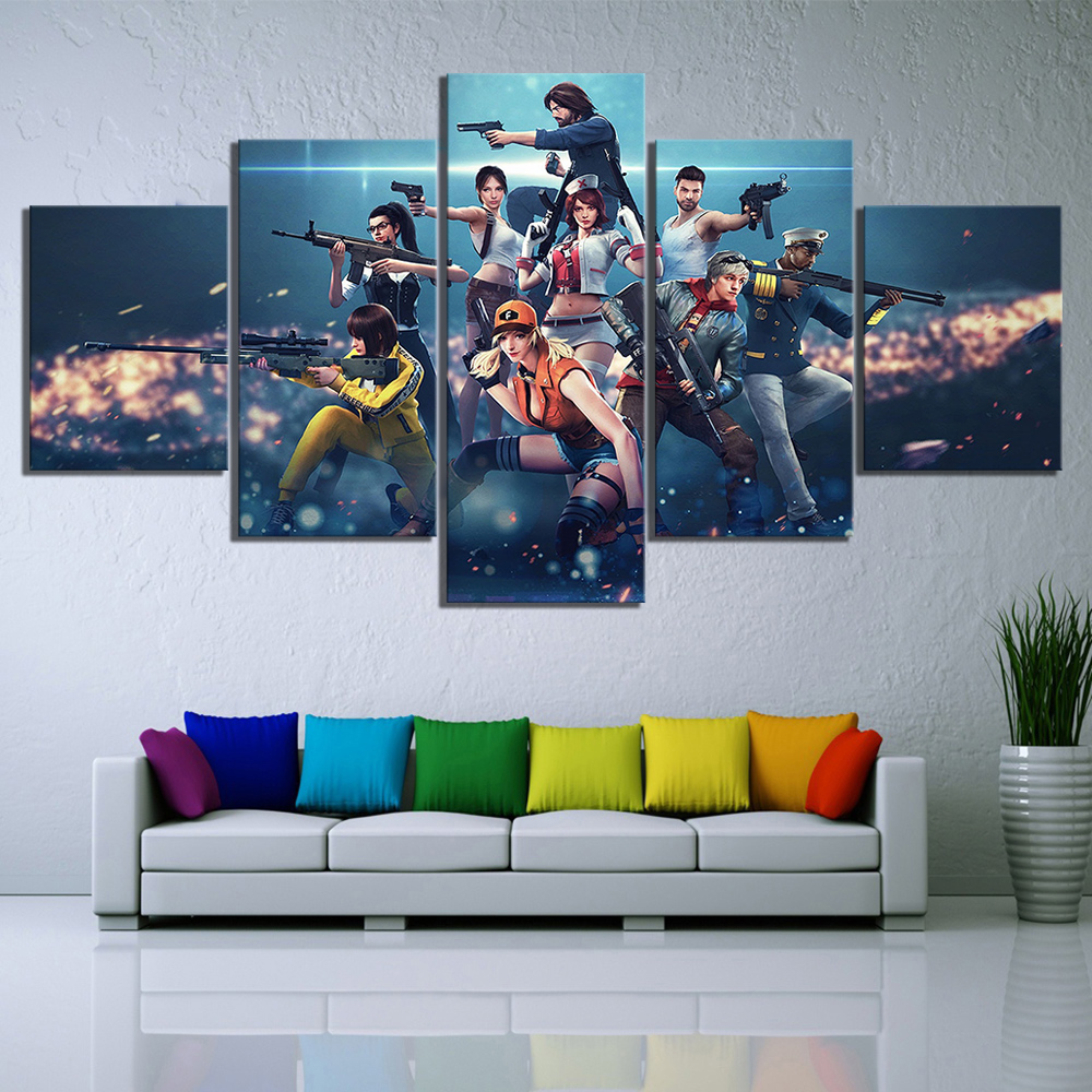 US $12.6 16% OFF|5 Piece Shooting Game Free Fire Poster Picture Wall  Paintings Garena Free Fire Video Games Poster Wall Sticker Canvas  Paintings-in ...