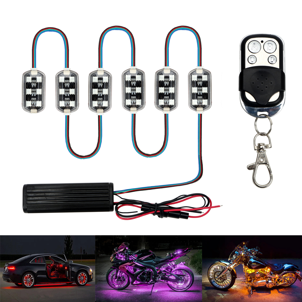 12V 6x6 Auto Roof Light Kit LED Neon RGB Decorative Lamp + Remote Control for Car Motorcycle Harley Kawasaki Light Car-styling night lord ip68 waterproof 90 120 colorful led under car light rgb chip auto chassis light kit with remote control free shipping