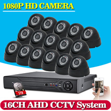 16CH CCTV System Kit AHD DVR Dome indoor 2.0mp hd Cameras with IR CUT Home Surveillance System 16 Channel DVR Kit
