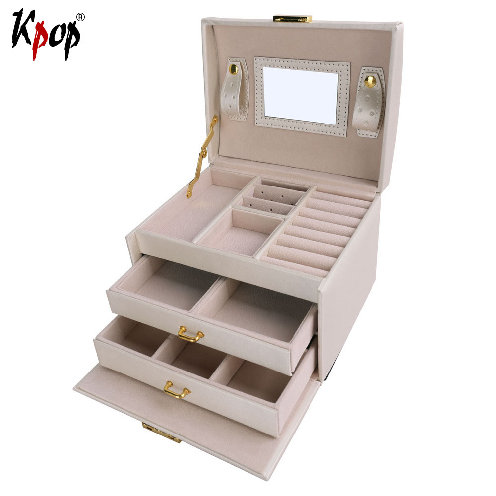 Kpop Square Shape Multilayer Box Display PU Leather Travel Case Storage Box Carrying Cases For Rings Necklaces Jewelry OB106 mini cute red carrying cases foldable red heart shaped ring box for rings lid open velvet display box jewelry packaging 1pcs hot