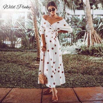 цена на WildPinky Polka Dot Boho Maxi Long Dress Bohemian Sexy V Neck Off Shoulder Sashes Ankle-Length Female Dress Summer Women Vestido
