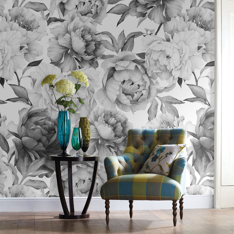 Grey black and white floral custom 3d wall paper mural on for Black wall mural
