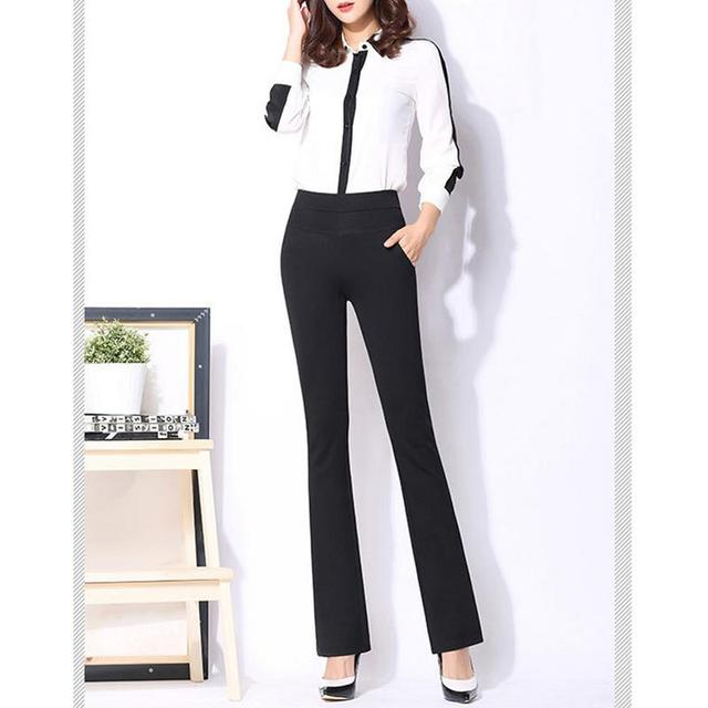 9d467672fd93c 2018 Fashion Women Slimming High Waist Stretchy Boot Cut Dress Pants  Stretchy Boot Cut Trousers Straight-leg Stretch Trousers