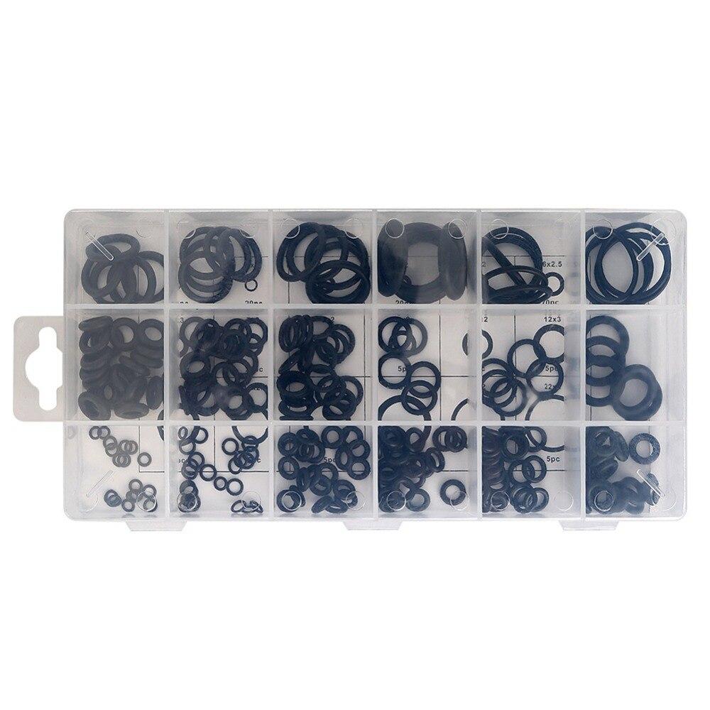 225 шт. черный резиновый уплотнительное кольцо + Пластик коробка 18 Размеры шайба прокладка уплотнительное кольцо Ассортимент Комплект для ав...