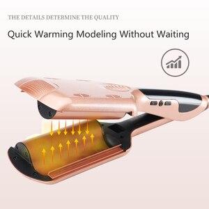 Image 5 - Professional 26/32 mm Wave Curling Iron Ceramic Hair Curler Deep Wavy Curler  LED Temperature Hair Three Tube Hair Curler Roller