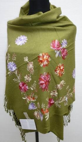 Бесплатная доставка армия зеленый нью-китайских женщин шелковый пашмины вышивка платок шарфы обруча цветы SW-006