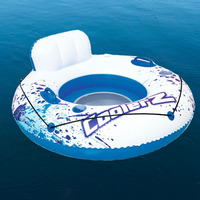 Single Island Inflatable Water Sofa Air Mattress with Cup Holder Backrest Beach Water Lounge Ideal Swimming Pool Leisure Floater