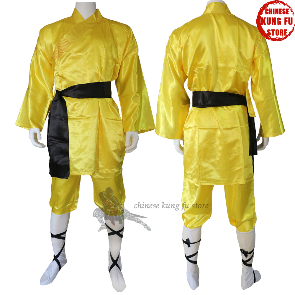 Yellow Satin Shaolin Suit Kung Fu Martial Arts Suit Beautiful For Performance Full Sizes For Kids Adults