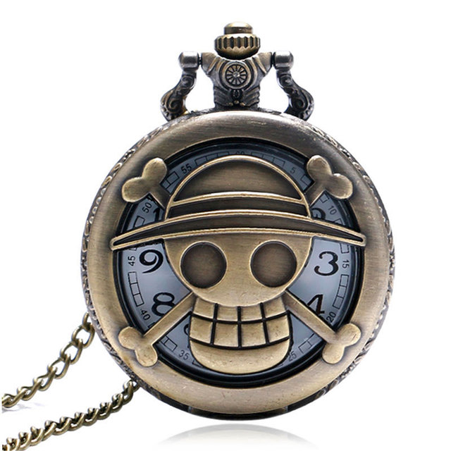 Hollow Bronze One Piece Theme Cospaly Animation Quartz Pocket Watch With Necklac
