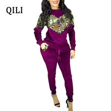 hot deal buy qili velvet long sleeve jumpsuits for women sequined two piece set office lady jumpsuit new autumn winter women casual jumpsuits