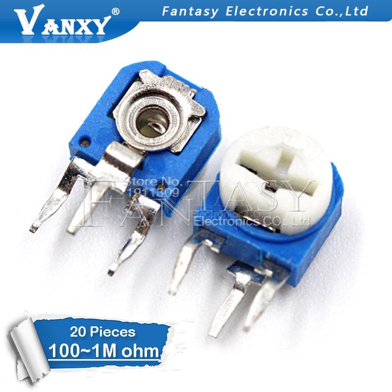20pcs RM063 RM-063 100 200 500 1K 2K 5K 10K 20K 50K 100K 200K 500K 1M Ohm Trimpot Trimmer Potentiometer Variable Resistor