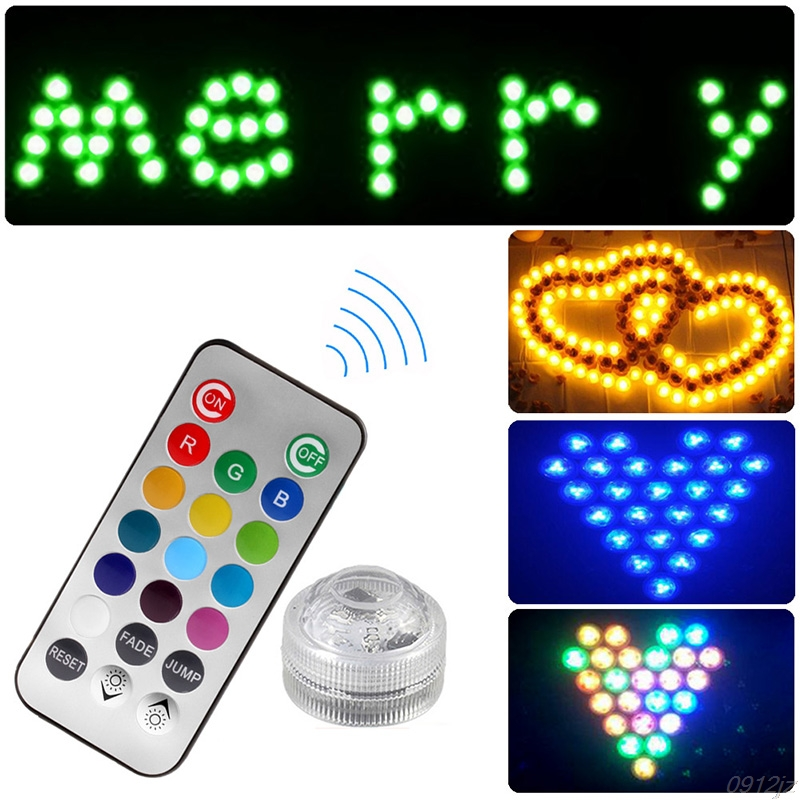 1PC Remote Controller LED Color Change Wedding Party Fish Tank Wterproof Light Jump/Fade IP67 New Drop ship