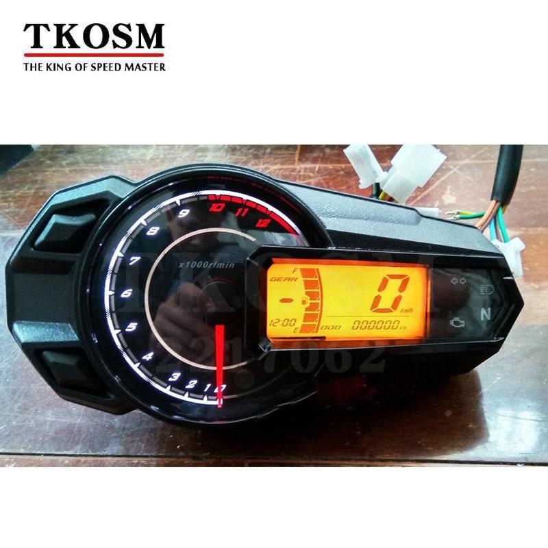 TKOSM 2018 New LED Backlight Motorcycle Speedometer Odometer Tachometer Kmh MUniversal Motorcycle Speedometer Sensor 12000RPH цена