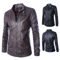2015 new fashion spring mens leather jackets mandarin collar mens motorcycle jacket overcoat M L XL 2XL 3XL 4XL