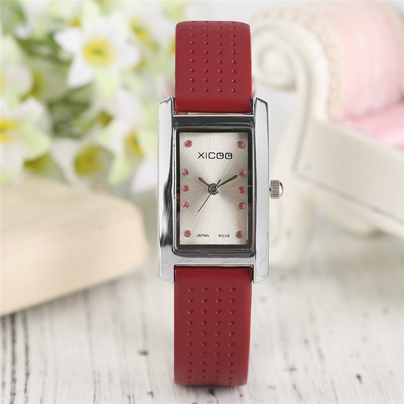 XICOO Classic Crystal Women's Bracelet Watches Quartz Dress Ladies Wristwatch Modern Square Small Dial Clock Girl Student Gift hot sale 4 colors fashion ladies dress quartz wristwatch crystal dial leather bracelet elegant stylish women watches best gift