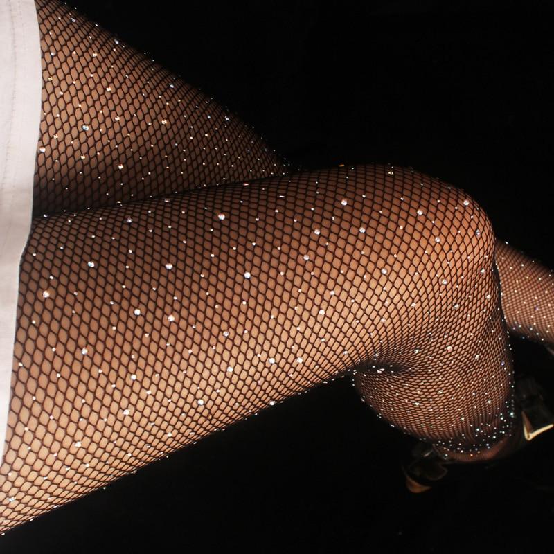 2019 Sexy Women's Diamond Fishnet Tights Mesh Pantyhose Multicolor Rhinestone Nylons Shiny Pantyhose Collant Hosiery Fish Net
