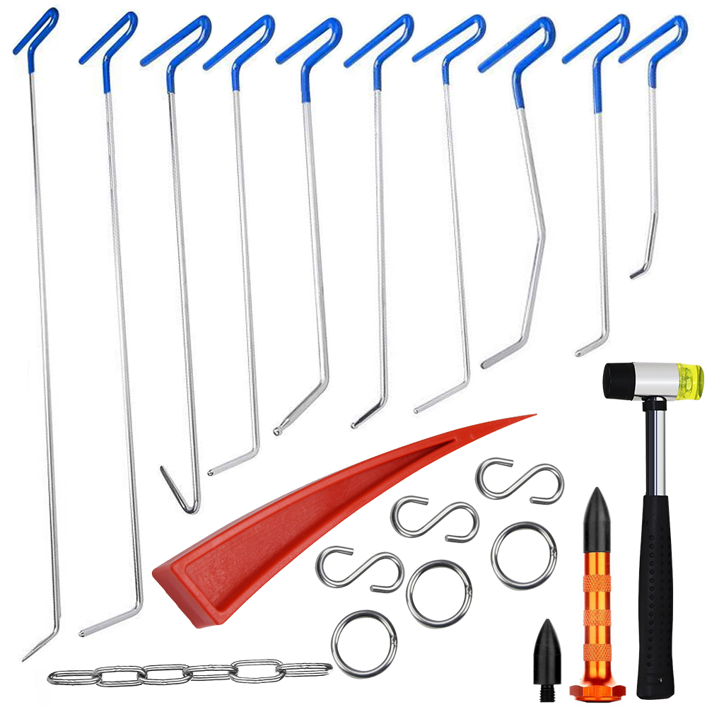 Furuix PDR Rods Hook Tools Paintless Dent Repair Car Dent Removal PDR Tool Kit Hail Hammer dent removal tools furuix 32pcs pdr rod hook tool set paintless hail removal auto car ding dent repair whale tails tap down hammer hook wedge
