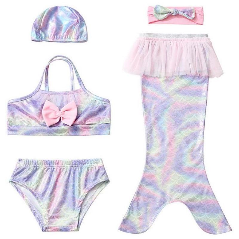 Mermaid Colorful Swimsuit Suits For Kids Girls Costumes Swimming Swimwear Bikini Flipper for girls New