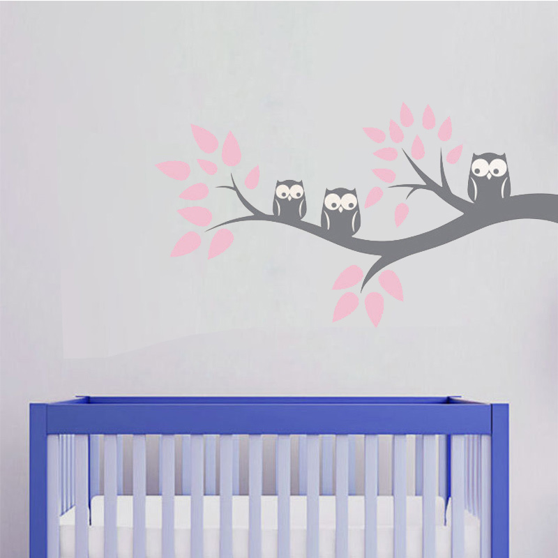 Cute Three Owls Branch Wall Decal Sticker Home Decoration Vinyl Mural - Home Decor - Photo 4
