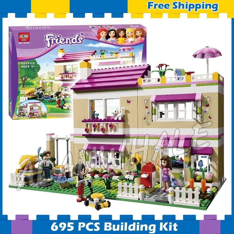 695pcs Friends Heartlake City Princess Olivia's House 10164 Model Building Blocks Lovely Children Gifts set Compatible With lego 731pcs friends heartlake city princess emma s house 10541 model building blocks assemble bricks toys luis compatible with lego