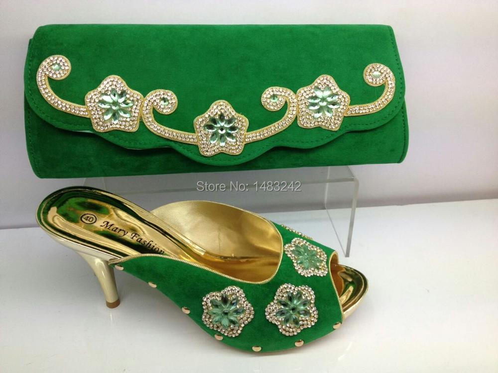 ФОТО High Quality Matching Italian Shoes And Bag Set With Free Shipping /(0601 green )Open Toe Heels Sandal African Shoes And Bag Set