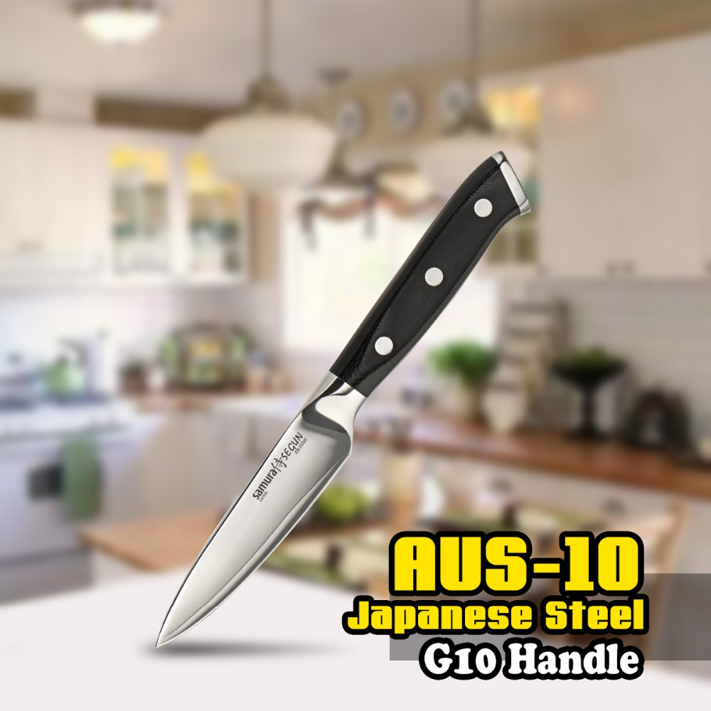 TUO CUTLERY Paring Knife - 3 Layers AUS-10 Japanese HC Steel Fruit Pelling Kitchen Knife - Non-slip Ergonomic G10 Handle - 3.5''