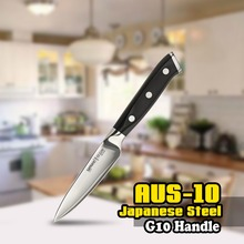 SS-0010 Paring Knife 3 Layers AUS-10 Japanese Stainless Steel  3.5 Inch (87mm)  G10 Handle Chef Kitchen Black