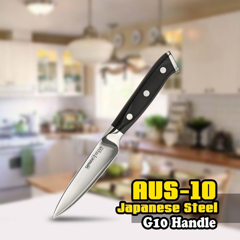 SS-0010 cuchillo 3 capas AUS-10 japonesa de acero inoxidable 3.5 pulgadas (87mm) G10 manejar chef cocina negro