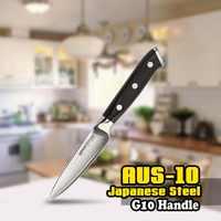 TUO POSATE Coltello da cucina-3 Strati AUS-10 Giapponese HC Acciaio Inox di Frutta Pelling Coltello Da Cucina-Non-slip Ergonomico g10 Maniglia-3.5''
